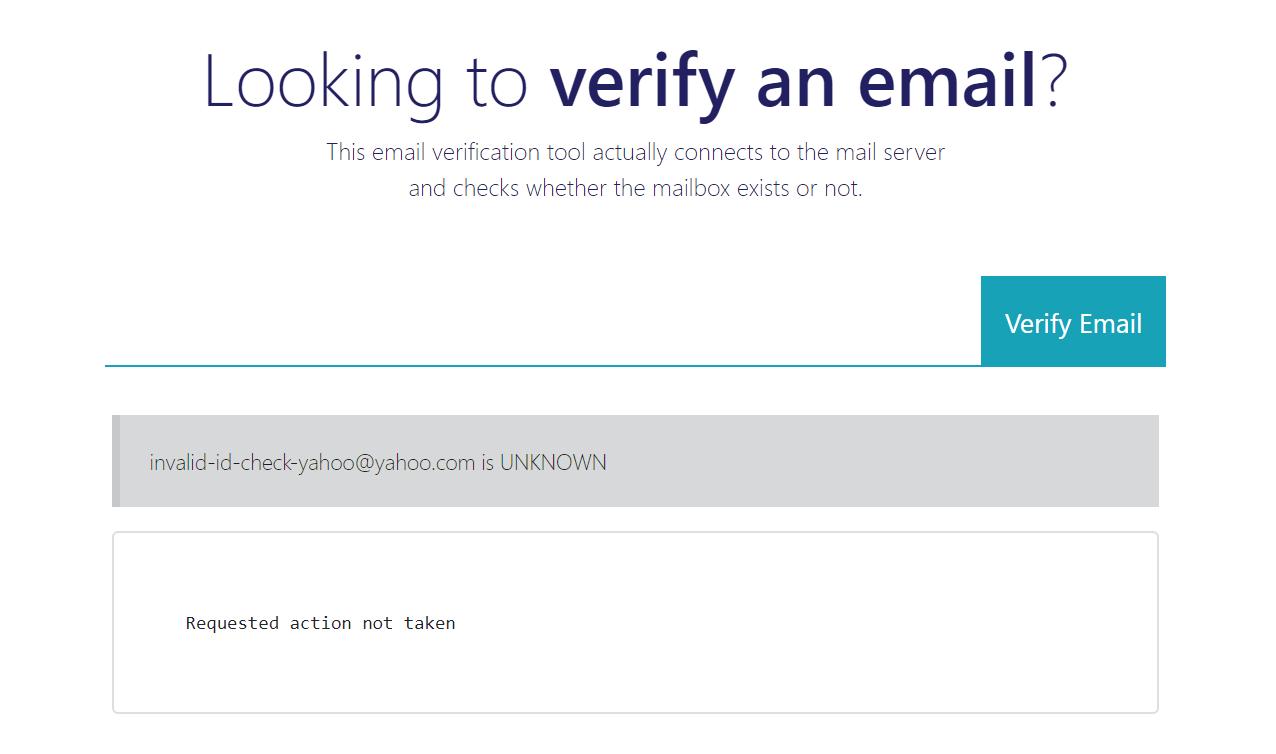 Yahoo Email Verification Check